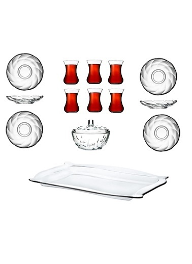 Paşabahçe Tepsili Çay Bardak Seti - Çay Seti Takımı 14 Prç. Renkli